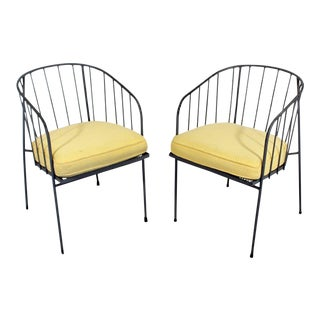 1950sMid-Century Modern George Nelson Arbuck Wrought Iron Patio Chairs - a Pair