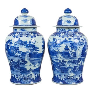 Pair of 20th C. Oversized Blue & White Jars With Lids For Sale
