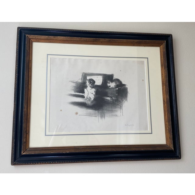 """Vintage Margery Austin Ryerson """"Child With Cat at the Piano"""" Lithograph For Sale - Image 10 of 10"""
