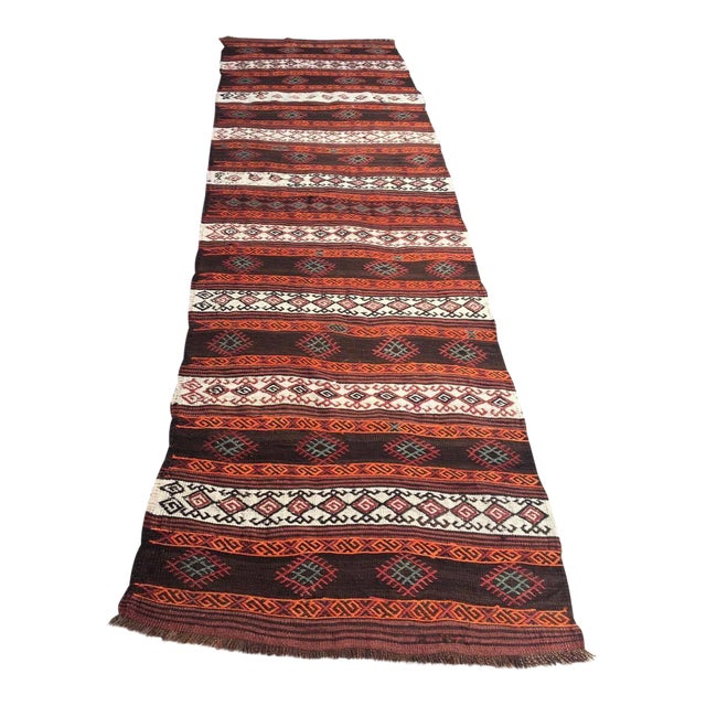 """Embroidered Kilim Runner - 2'8"""" x 9'2"""" For Sale"""
