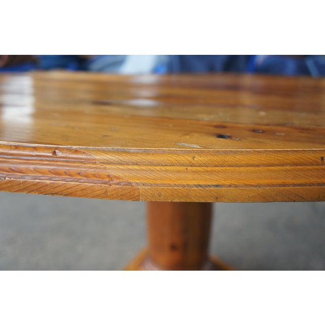 Rustic Ralph Lauren Distressed Pine Pedestal Table For Sale - Image 9 of 13