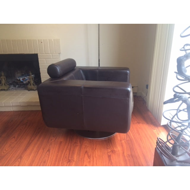 Chocolate Leather Swivel Chair - Image 6 of 7
