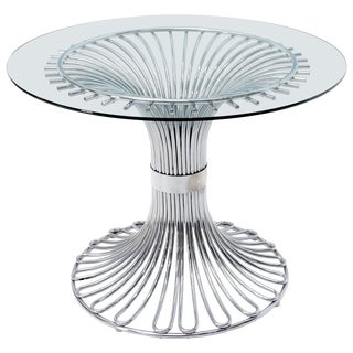Bent Chrome Tube Pedestal Base Glass Top Dining Table For Sale