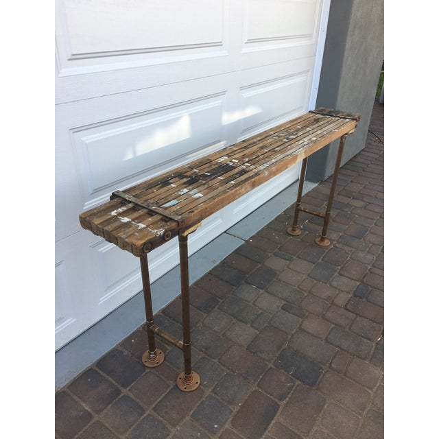 Boho Chic Antique Scaffolding Table For Sale - Image 3 of 11