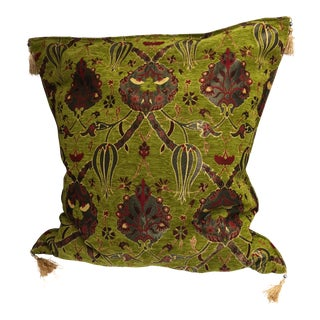 "Vintage Turkish Kilim Patterened Green Pillow Cover 26""x 26"" For Sale"