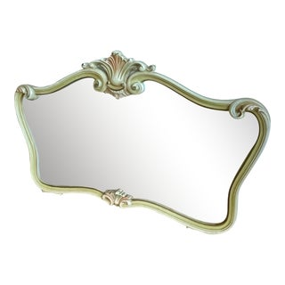 1950s Italian Hollywood Regency Style Hand Painted Horizontal Mirror For Sale