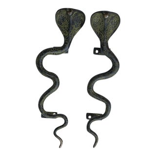 Large Green Brass Cobra Door Handles - A Pair