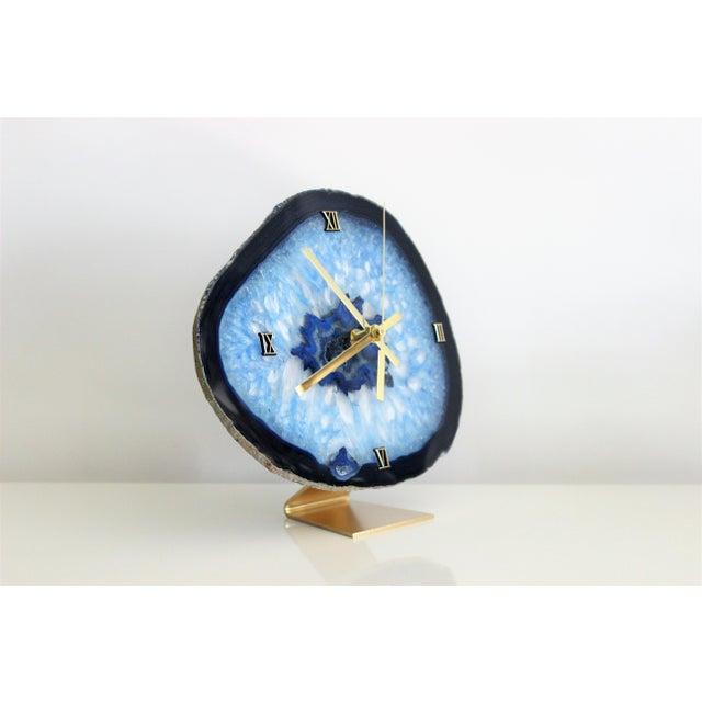 Modern Blue Agate Slice Boho Clock - Image 2 of 7