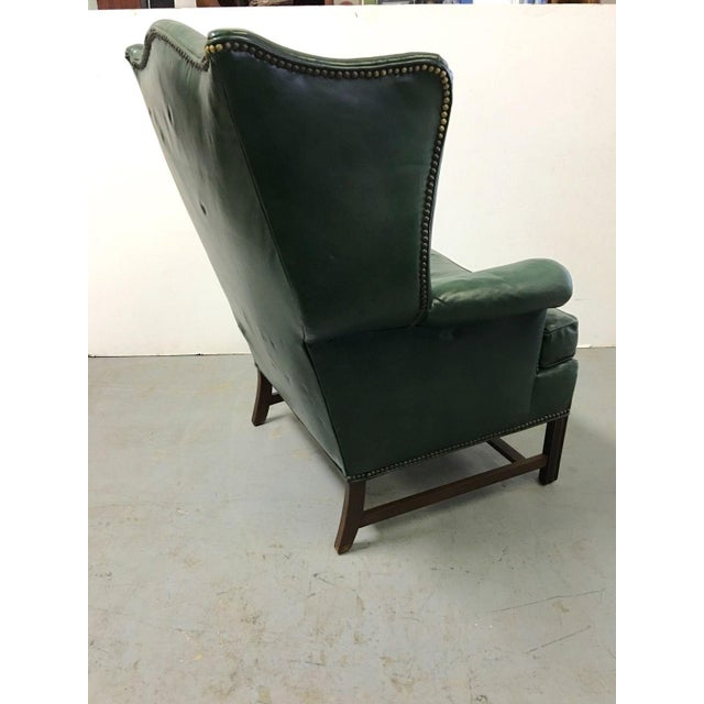 Vintage Green Leather Wingback Chairs - A Pair For Sale - Image 7 of 11