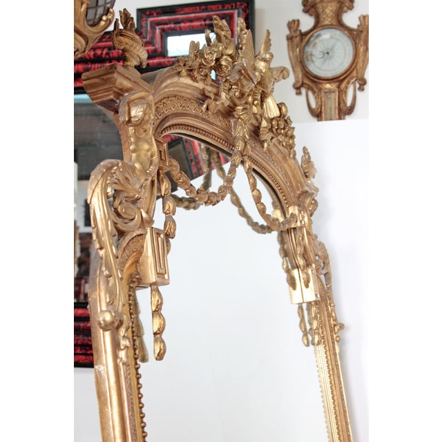 Elaborate 19th Century Louis XVI Style Gilt Mirror For Sale In Dallas - Image 6 of 12