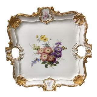 1900s Victorian Meissen Square Floral Tray For Sale