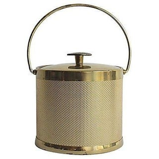 Gold Mesh Vintage Ice Bucket For Sale
