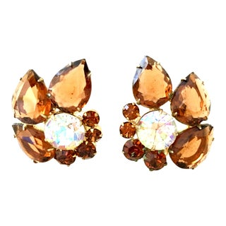 "1960's Vintage Delizza & Elster Gold & Austrian Crystal Abstract ""Flower"" Earrings For Sale"