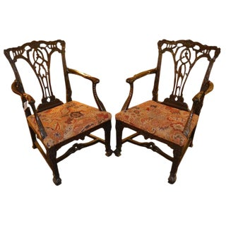 19th C. English Armchairs With Orig. Needlepoint- a Pair For Sale