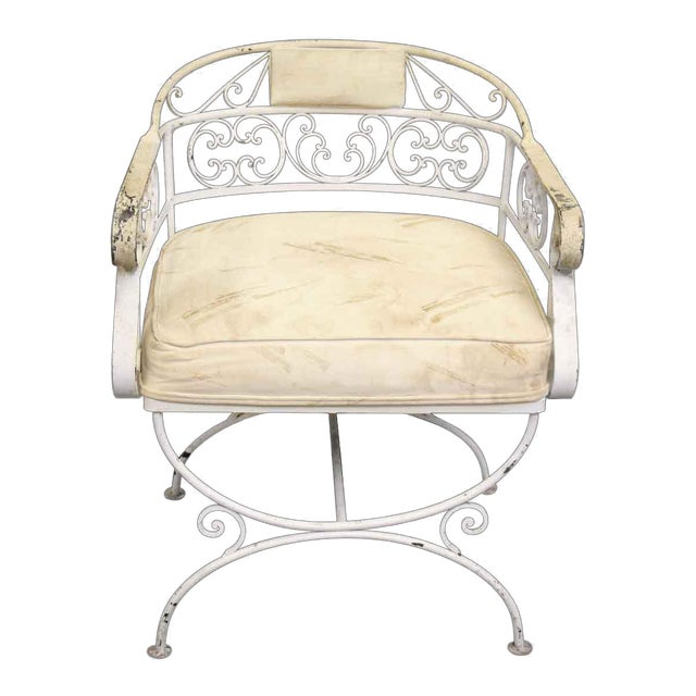 White Metal Cushioned Patio Chair For Sale