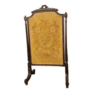 French Louis XVI Carved Oak Fireplace Screen For Sale
