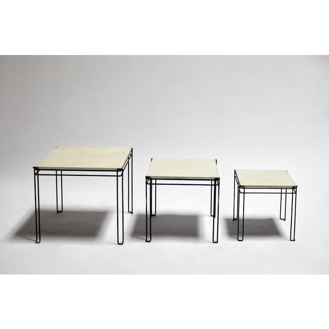 Featured in The 2020 San Francisco Decorator Showcase — 1960s Mid-Century Modern White Plaster & Black Wire Nesting Tables - Set of 3 For Sale In San Francisco - Image 6 of 7