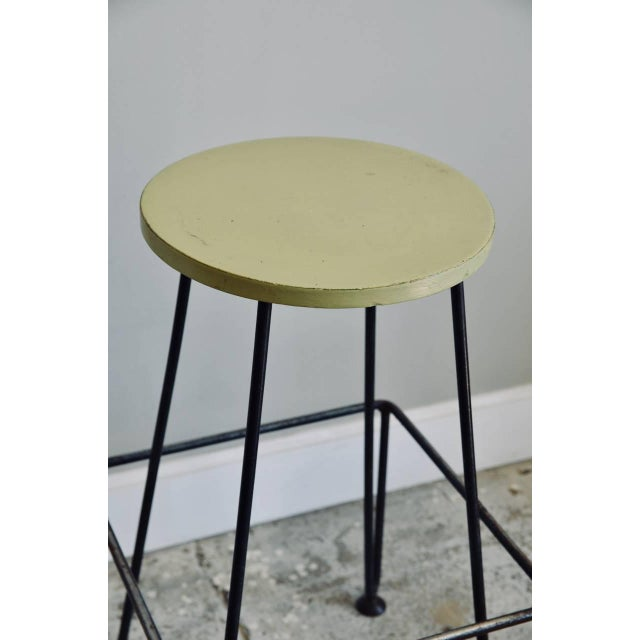 Set of Four Industrial Counter-Height Bar Stools For Sale - Image 4 of 8