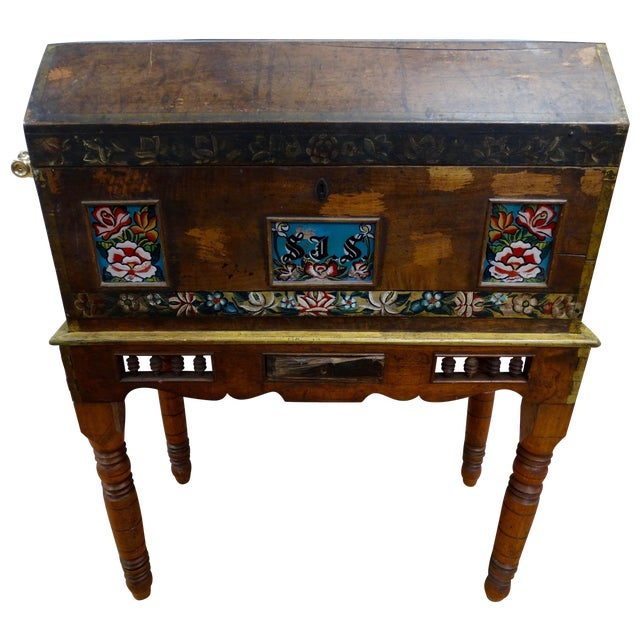 Antique Mexican Hand Painted Wedding Trunk - Image 1 of 5