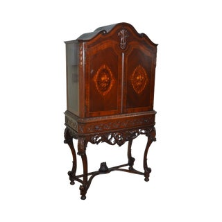 1930s Marquetry Inlaid Georgian Style Carved 2 Door Cabinet For Sale