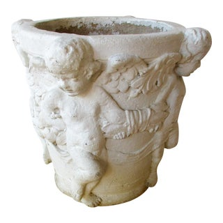 Concrete Cherub Planter Pot For Sale