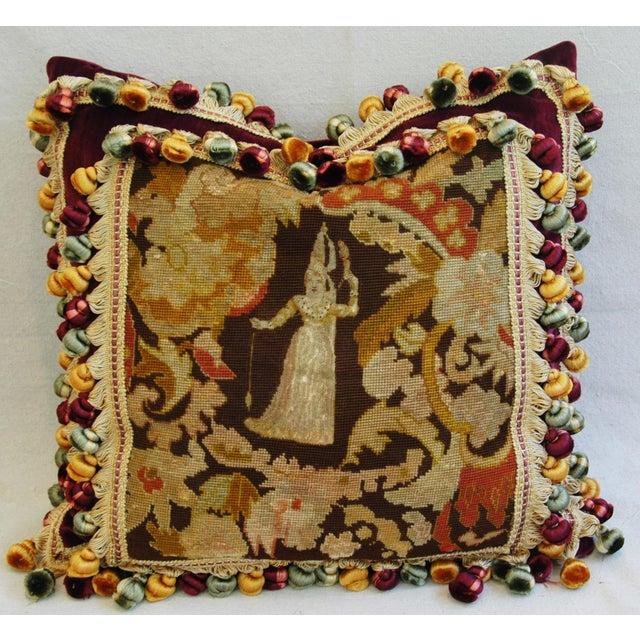 Custom Antique French Needlepoint & Velvet Pillow - Image 11 of 11
