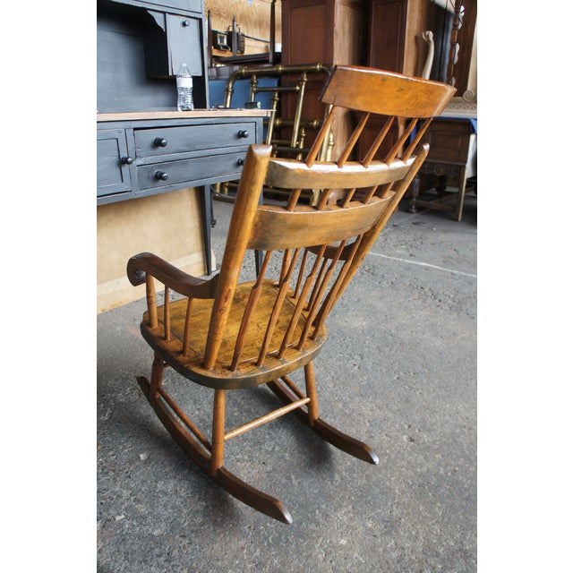 Wood 19th Century Antique Chestnut Windsor Comb Back Rocking Chair For Sale - Image 7 of 13