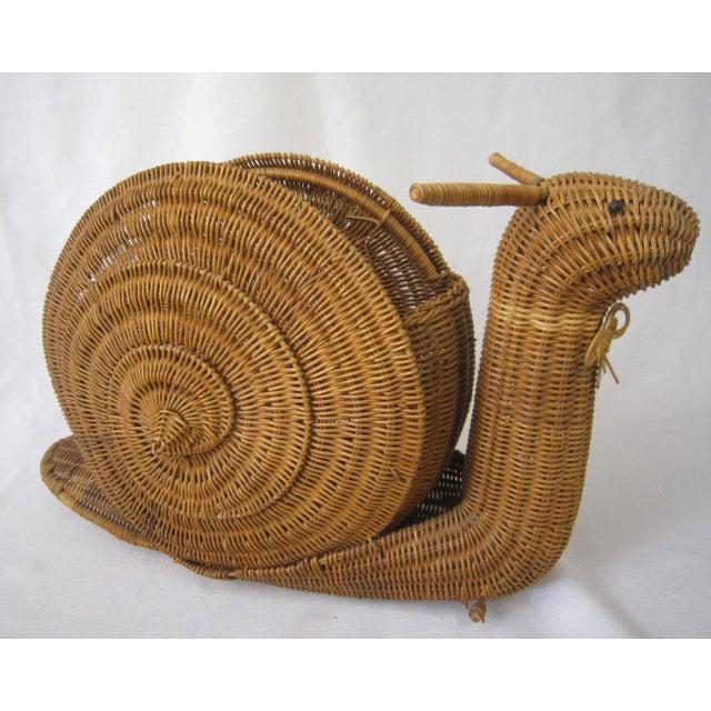Wicker Vintage Wicker Snail Basket For Sale - Image 7 of 8
