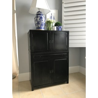Clyde Bar Cabinet Pottery Barn Mahogany Wood Black Preview