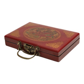 Chinese Handmade Travel Dragon Mahjong Set in Red Case For Sale