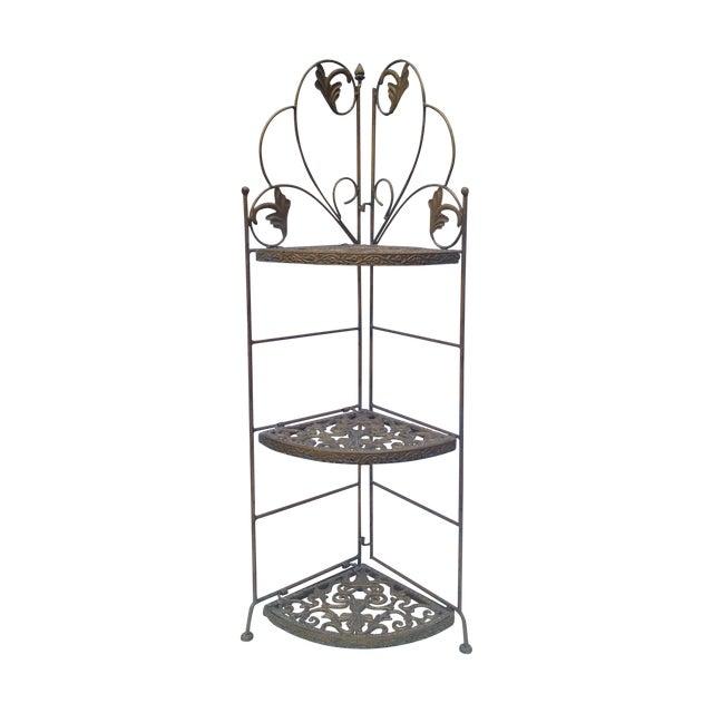 Folding Brass Corner Table For Sale