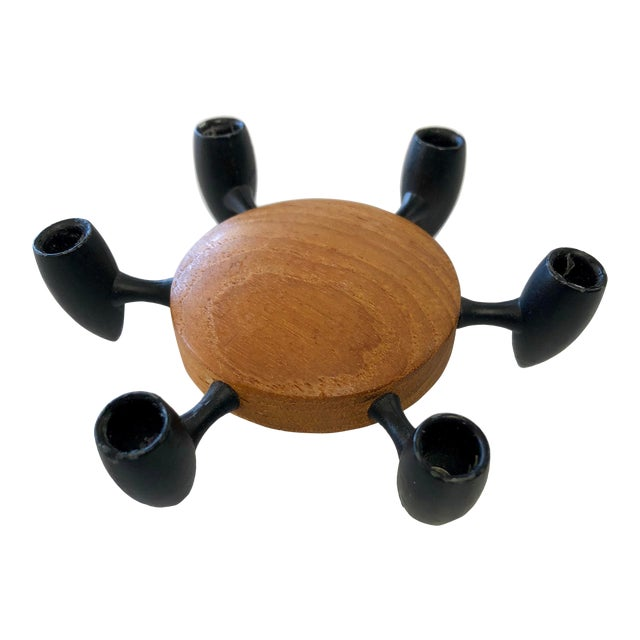 Vintage Danish Modern Jigsmed Teak Candle Holder For Sale
