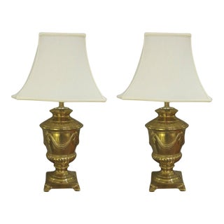 1960s American Frederick Cooper Campagna-Form Solid Brass Lamps - a Pair For Sale