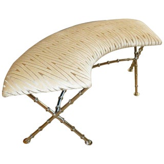 1950s Vintage Half Circular Nickel Silver Knotched Bamboo Bench For Sale