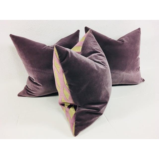 Boho Chic Purple Velvet Pillows – Set of 3 For Sale - Image 3 of 5