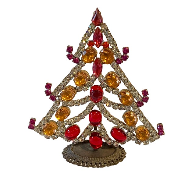 Red, Silver and Gold Czech Rhinestone Christmas Tree For Sale - Image 4 of 4