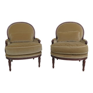 Pair of Century Louis XVI Style Upholstered Bergere Chairs For Sale