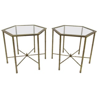Pair of Mastercraft Hollywood Regency Style Brass Hexagonal Side Tables For Sale