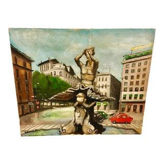 1973 Italian Piazza Barberini Rome Painting For Sale