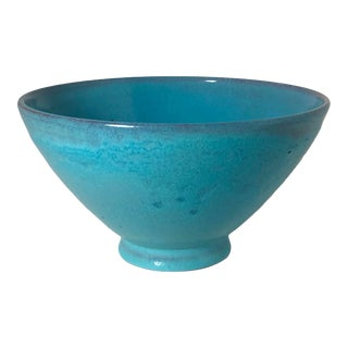 1960s Turquoise Blue Pottery Footed Bowl by Clement Giorgi For Sale