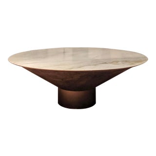 Modernist Round Marble Fiberglass & Brass Coffee Table For Sale