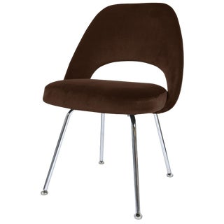 Saarinen Executive Armless Chair in Espresso Velvet For Sale