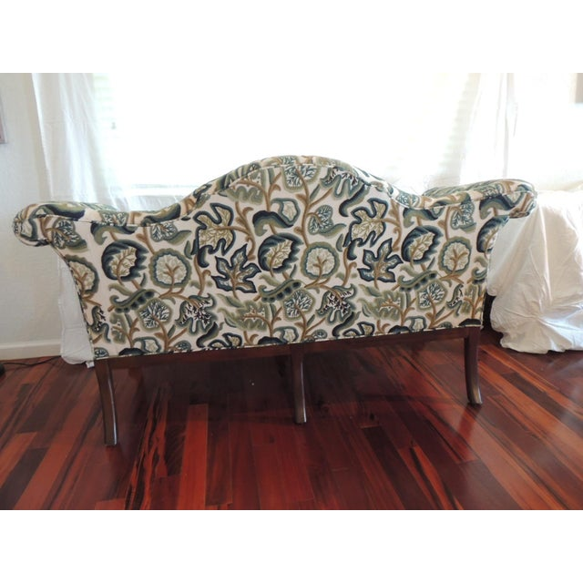 Blue Crewel-Work Green and Yellow Camel Back Upholstered Settee From Century Furniture For Sale - Image 8 of 13