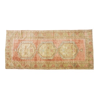 "1940s Traditional Turkish Gold and Red Oushak Spun Wool Rug - 4'10""x10'9"""