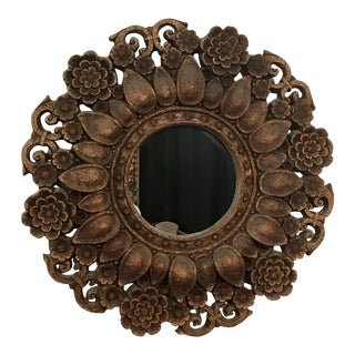 Vintage Flower Wall Mirror For Sale