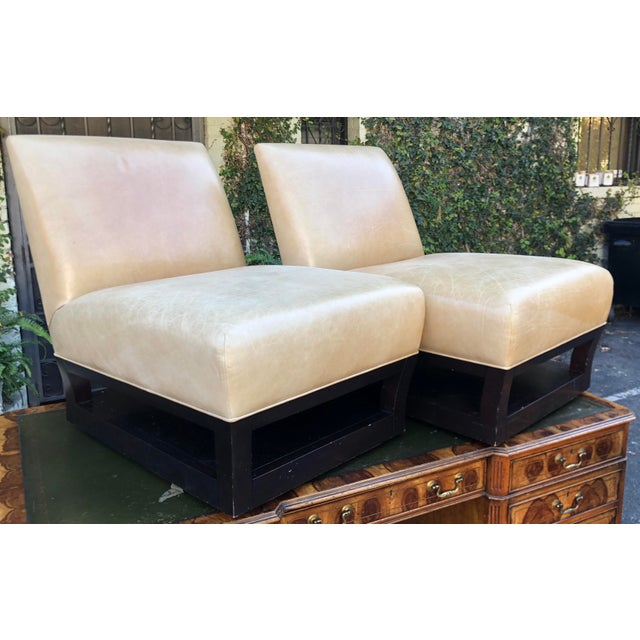 Donghia Pair of Donghia Open Villa Leather Swivel Slipper Chairs For Sale - Image 4 of 4