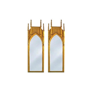 Pair of Pugin Style Gothic Giltwood Mirrors ~9 Feet Tall For Sale
