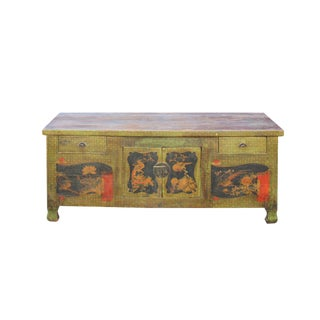 Chinese Distressed Light Olive Green Flower Graphic Tv Console Cabinet For Sale