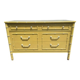 1970s Chinoiserie Thomasville Yellow Faux Bamboo Dresser For Sale