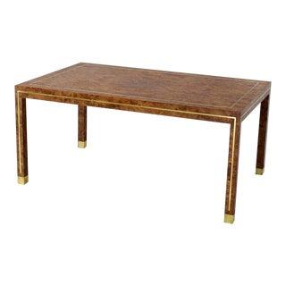 1970s Mid-Century Modern Brass Inlay Burl Wood Rectangular Coffee Table For Sale